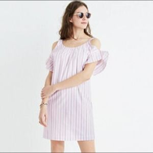 Madewell Rose Stripe Cold Shoulder Dress Small